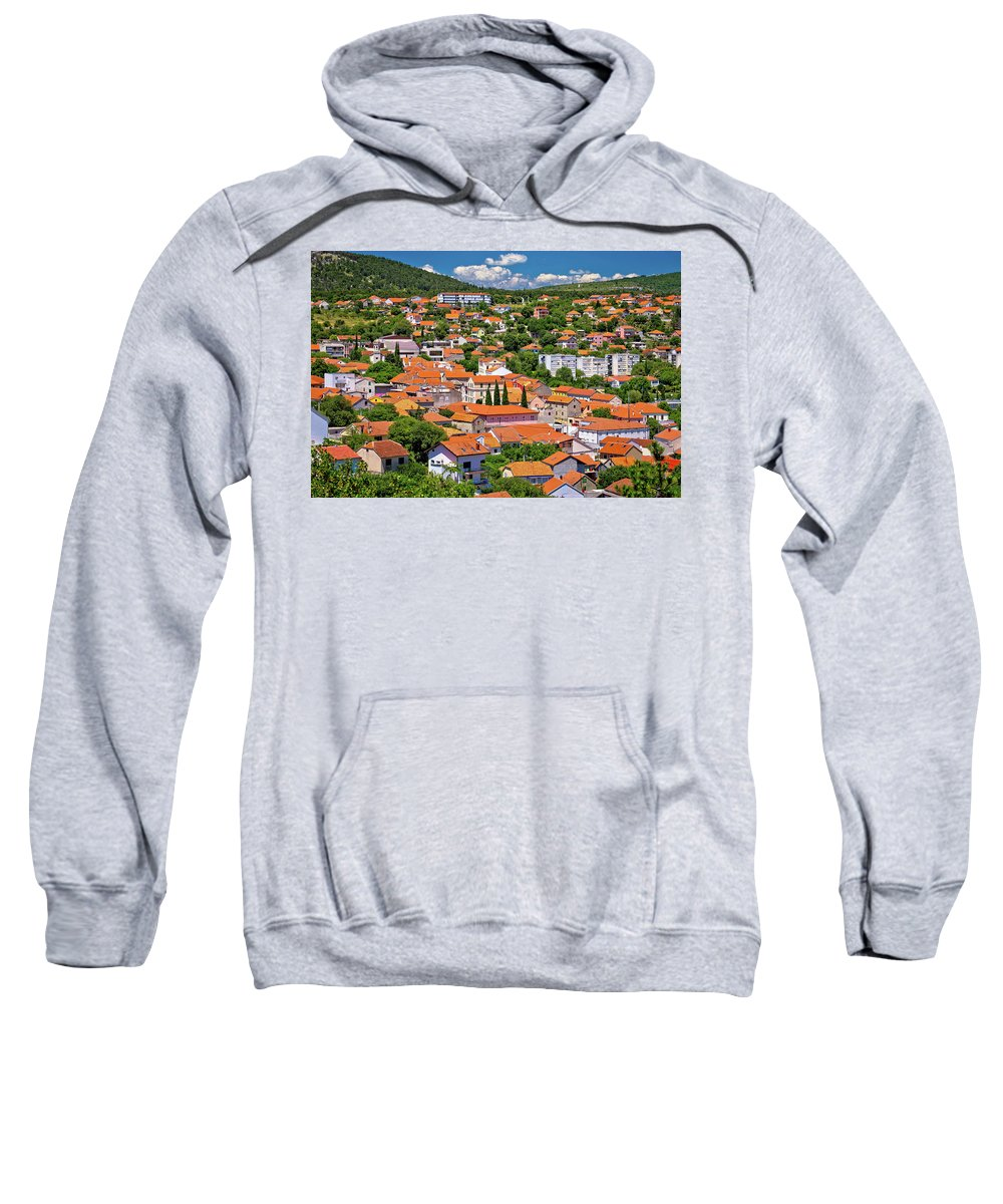 Drnis Sweatshirt featuring the photograph Town Of Drnis And Dalmatian Inland Panorama by Brch Photography