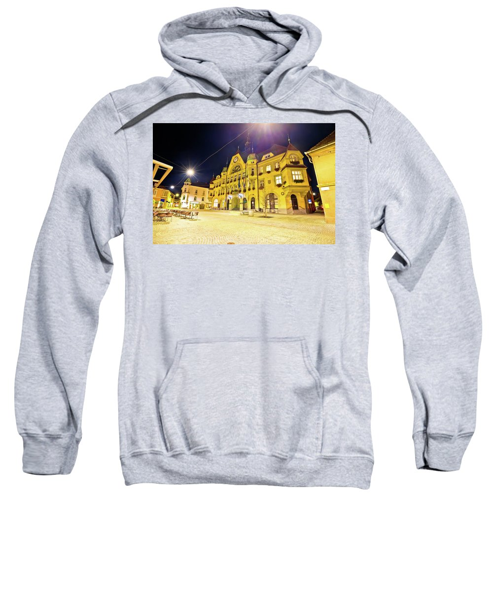 Slovenia Sweatshirt featuring the photograph Town Of Ptuj Historic Main Square Evening View by Brch Photography