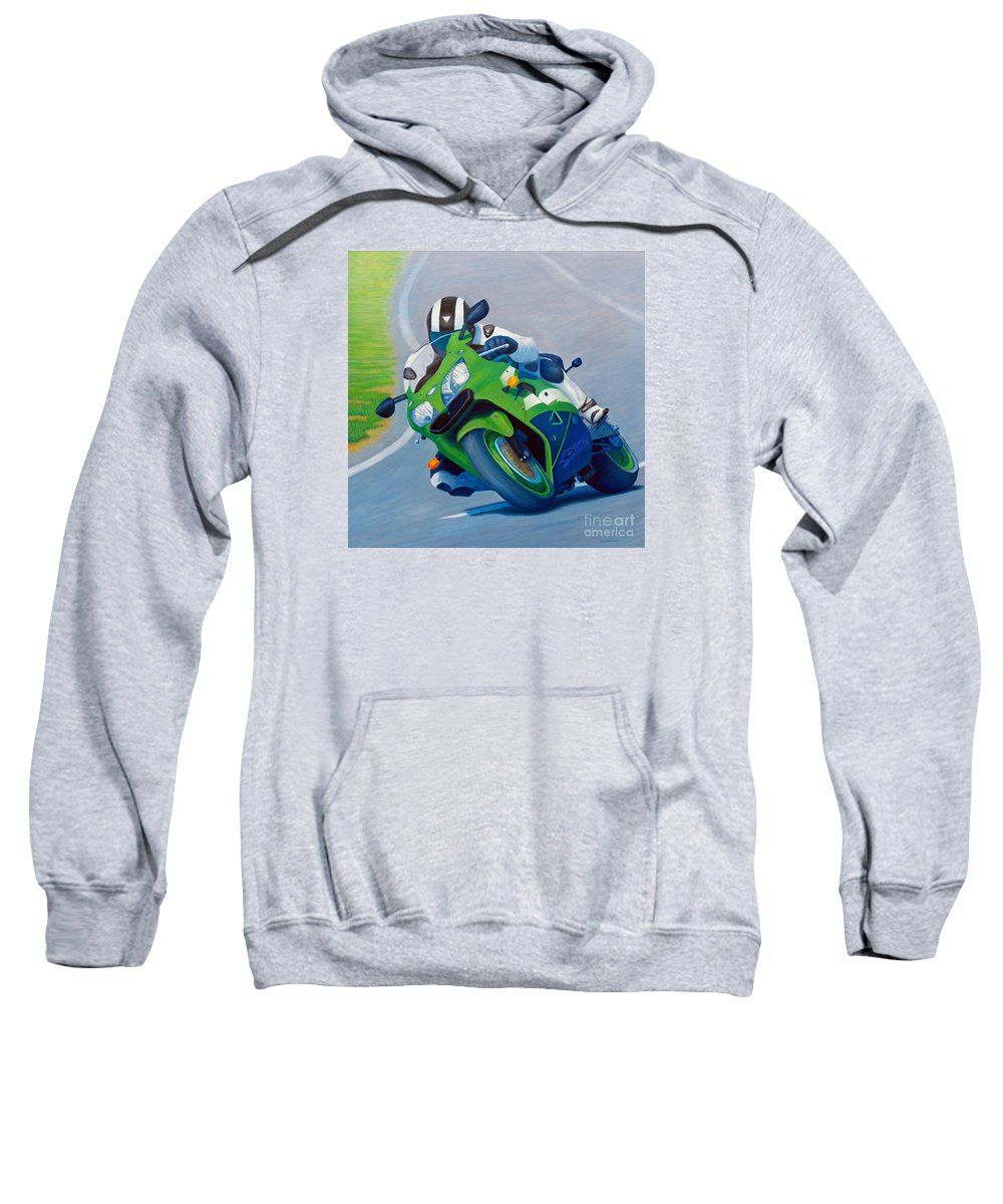 Motorcycle Sweatshirt featuring the painting Track Day - Kawasaki Zx9 by Brian Commerford