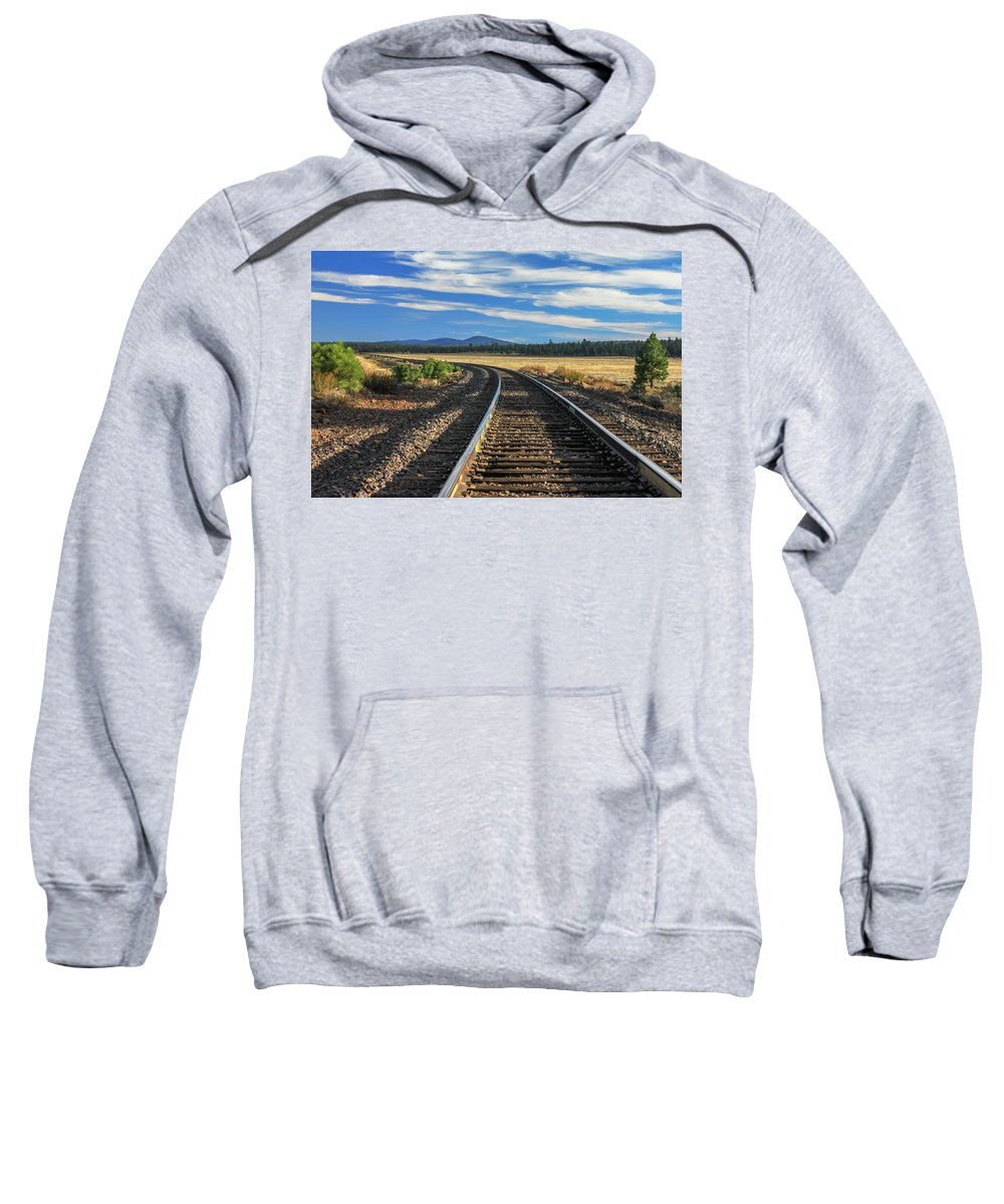 Landscape Sweatshirt featuring the photograph Tracks At Crater Lake by James Eddy