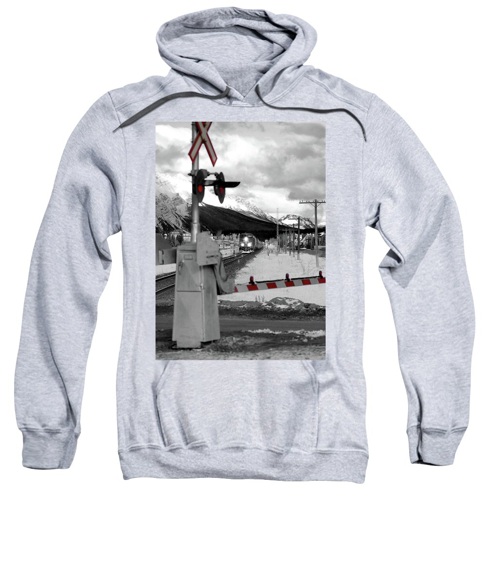 Canmore Sweatshirt featuring the photograph Train A Comin by Lisa Knechtel