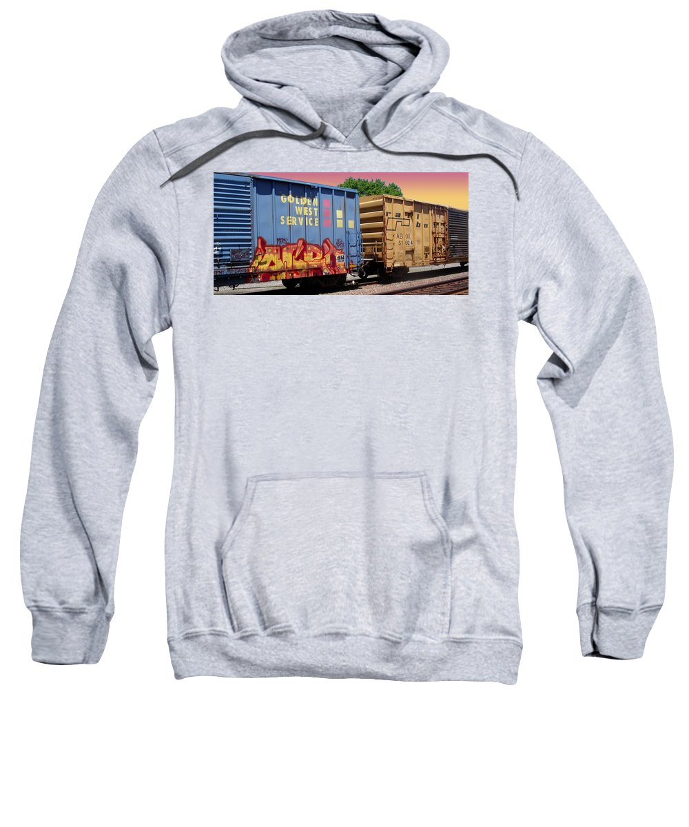 Train Sweatshirt featuring the photograph Train Aglow by Anne Cameron Cutri