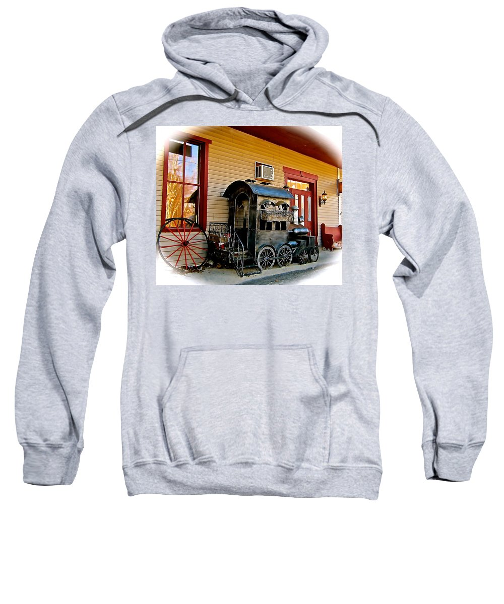Locomotive Sweatshirt featuring the photograph Train Depot by Elizabeth Tillar