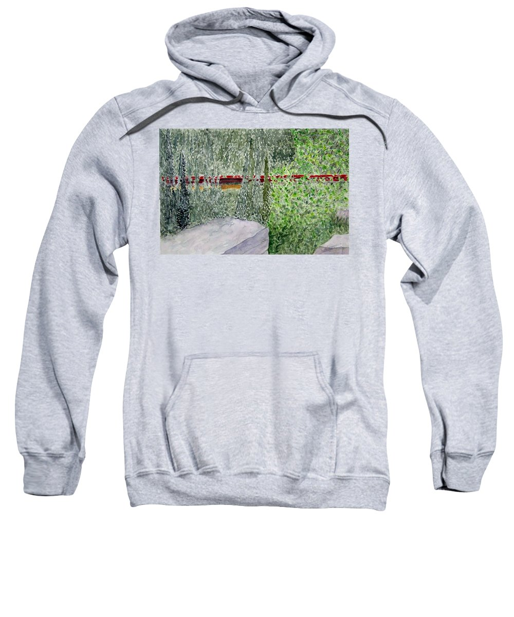 Train Art Sweatshirt featuring the painting Train Spotting by Larry Wright