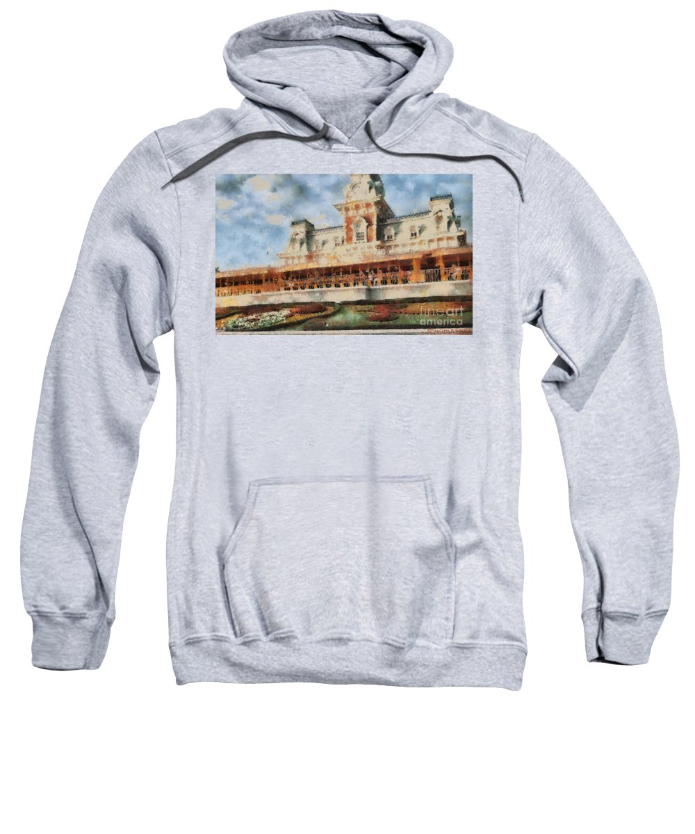 Florida Sweatshirt featuring the painting Train Station At Magic Kingdom by Paulette B Wright