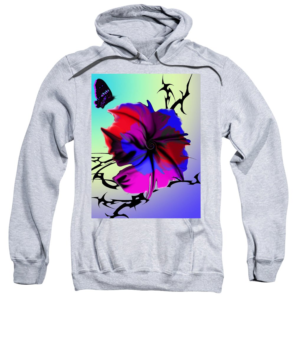 Flower Sweatshirt featuring the painting Trance Flower by Thomas Oliver