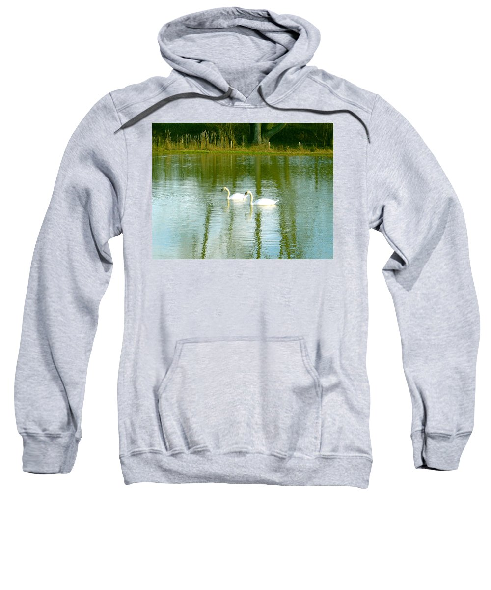 Swans Sweatshirt featuring the photograph Tranquil Reflection Swans by Susan Baker
