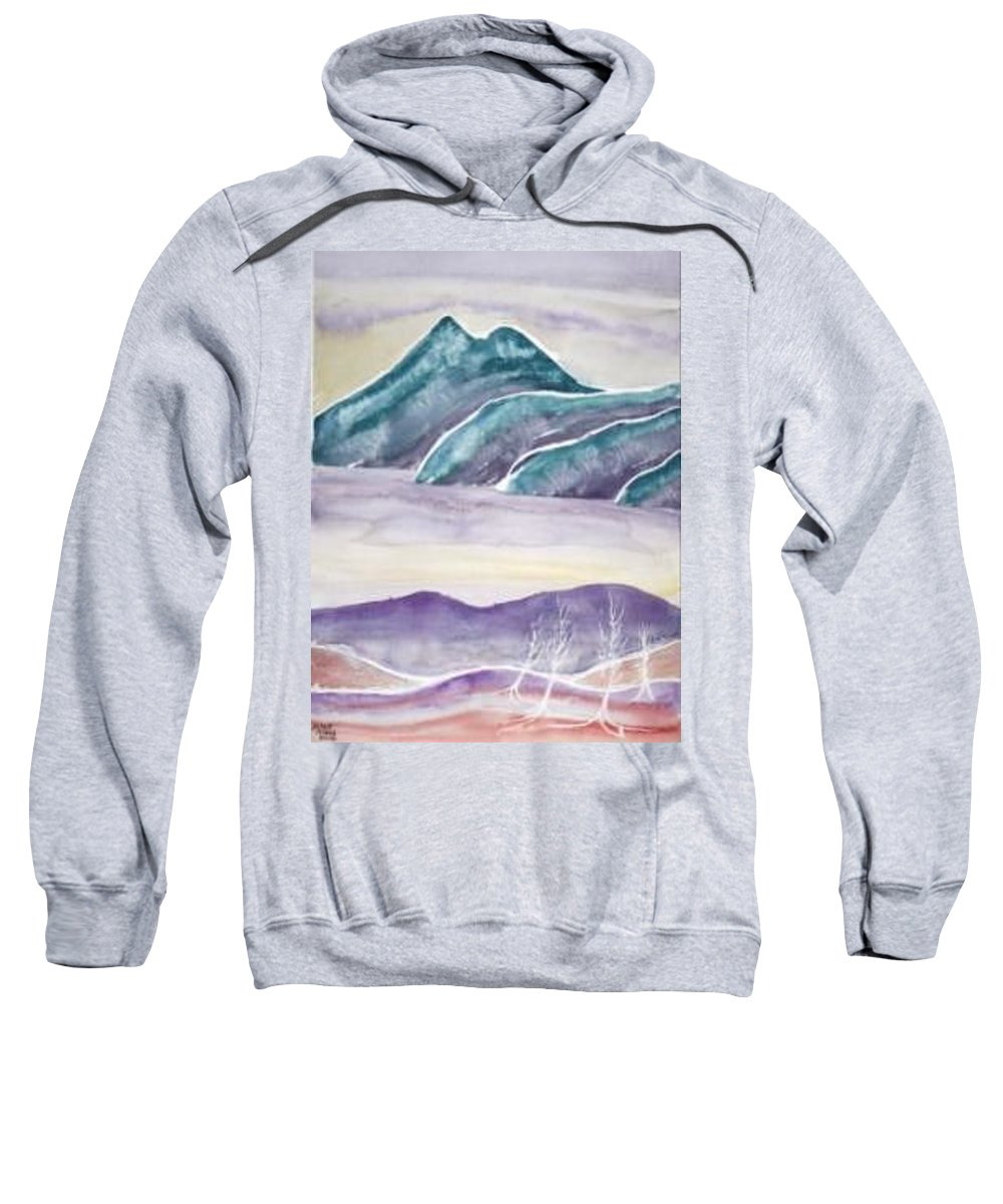 Watercolor Sweatshirt featuring the painting Tranquility Landscape Mountain Surreal Modern Fine Art Print by Derek Mccrea