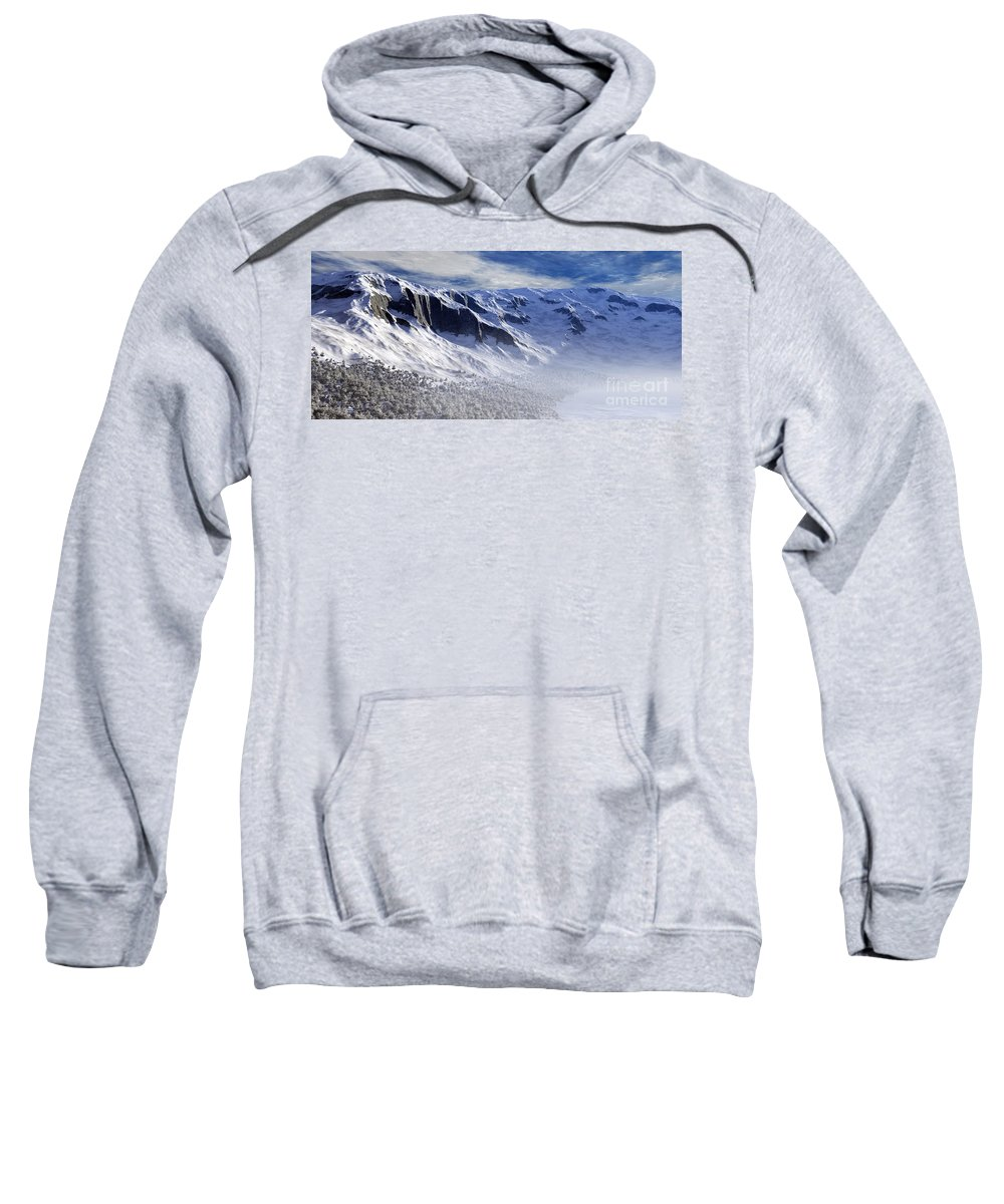 Mountains Sweatshirt featuring the digital art Tranquility by Richard Rizzo