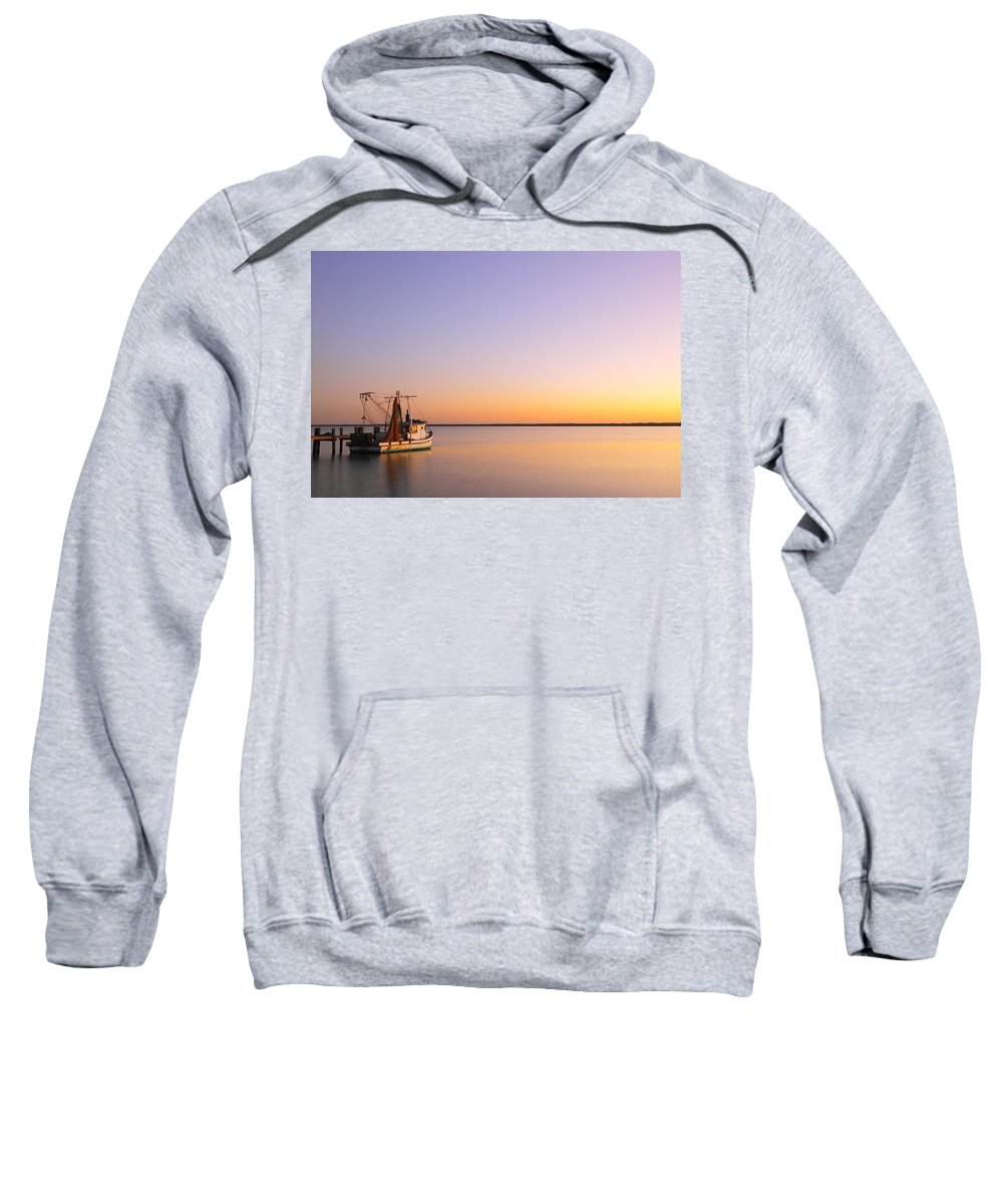 Texas City Sweatshirt featuring the photograph Shrimp Trawler At Dusk 2am-109249 by Andrew McInnes