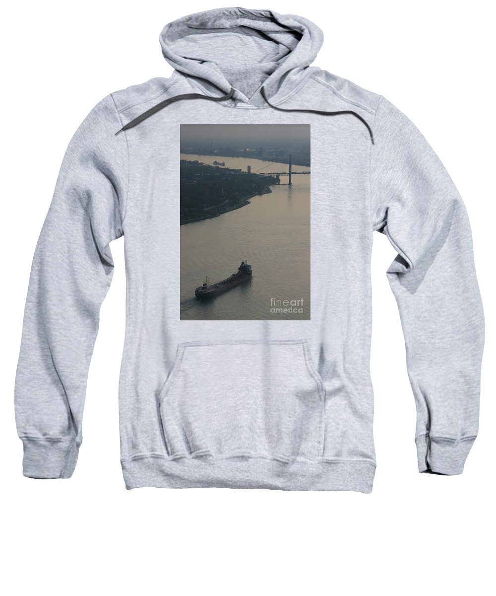 Detroit Sweatshirt featuring the photograph Transport On The Waterway by Linda Shafer