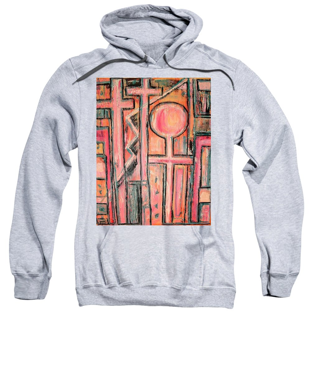 Cross Sweatshirt featuring the painting Trappings Of Love Abstract Art Painting by Kathy Augustine