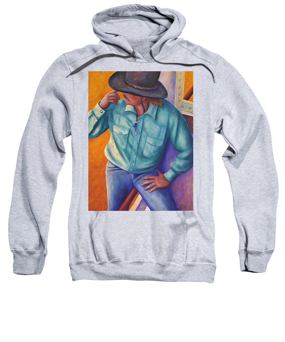 Cowboy Sweatshirt featuring the painting Travelin Man by Shannon Grissom