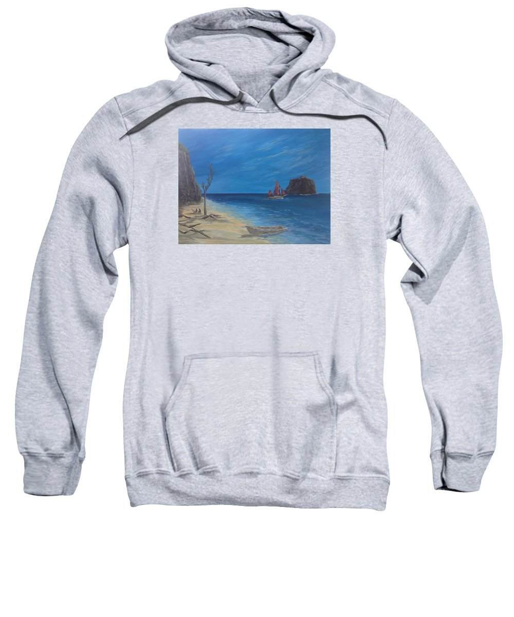Seascape Sweatshirt featuring the painting #25 Traveling On by Kimberley Gates