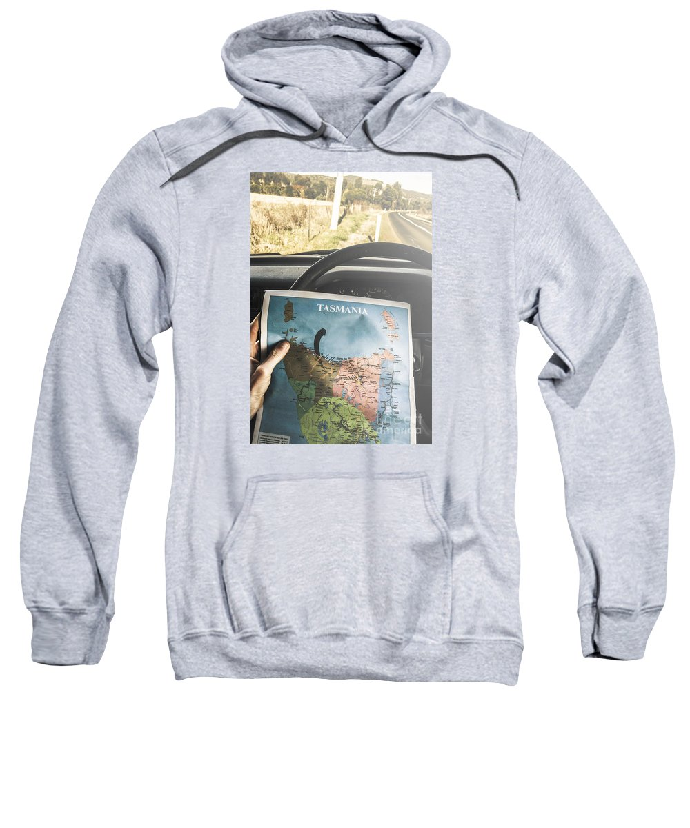 Tasmania Sweatshirt featuring the photograph Travelling Tourist With Map Of Tasmania by Jorgo Photography - Wall Art Gallery