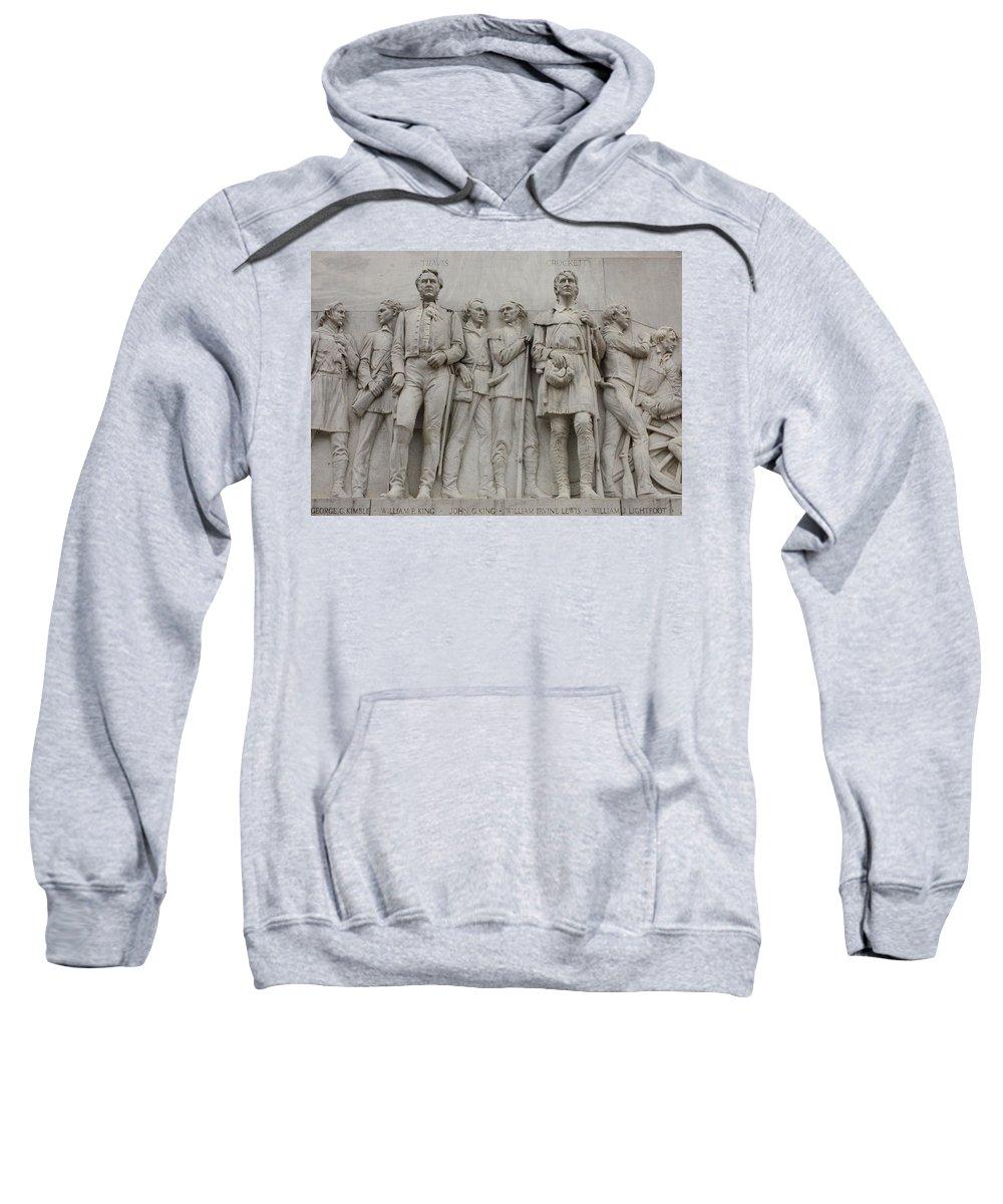 Alamo Sweatshirt featuring the photograph Travis And Crockett On Alamo Monument by Carol Groenen