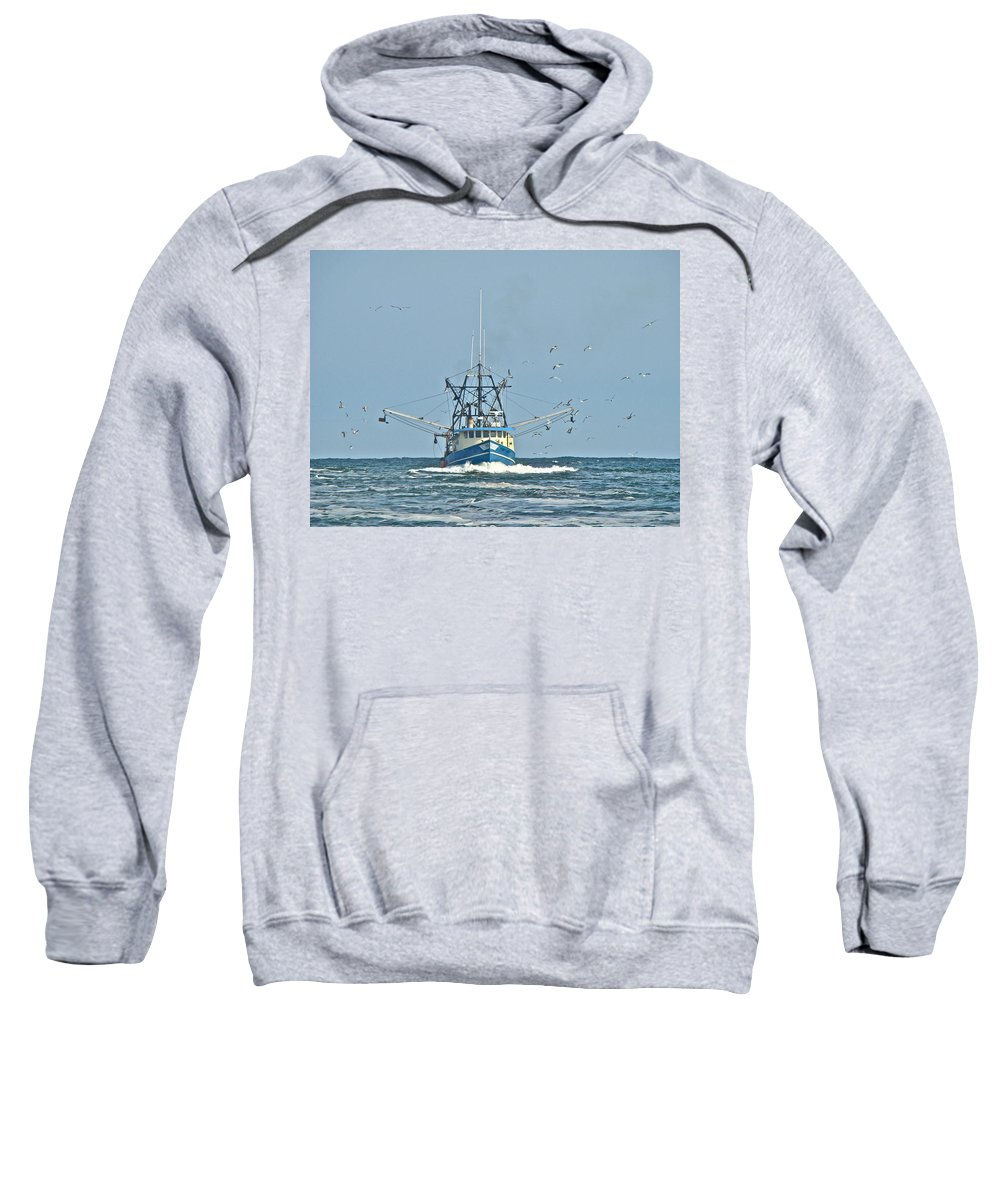 Trawler Sweatshirt featuring the photograph Trawler Homeward Bound by Mother Nature