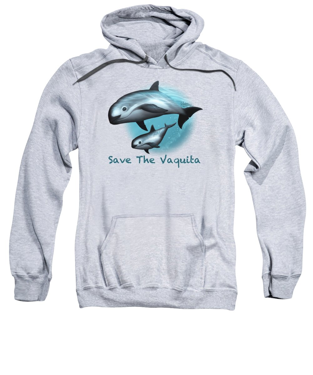Vaquita Sweatshirt featuring the painting Treacherous Waters Vaquita Porpoise by Amber Marine