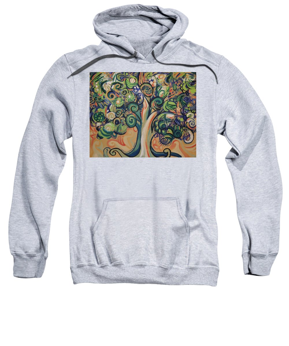 Tree Sweatshirt featuring the painting Tree Candy by Genevieve Esson
