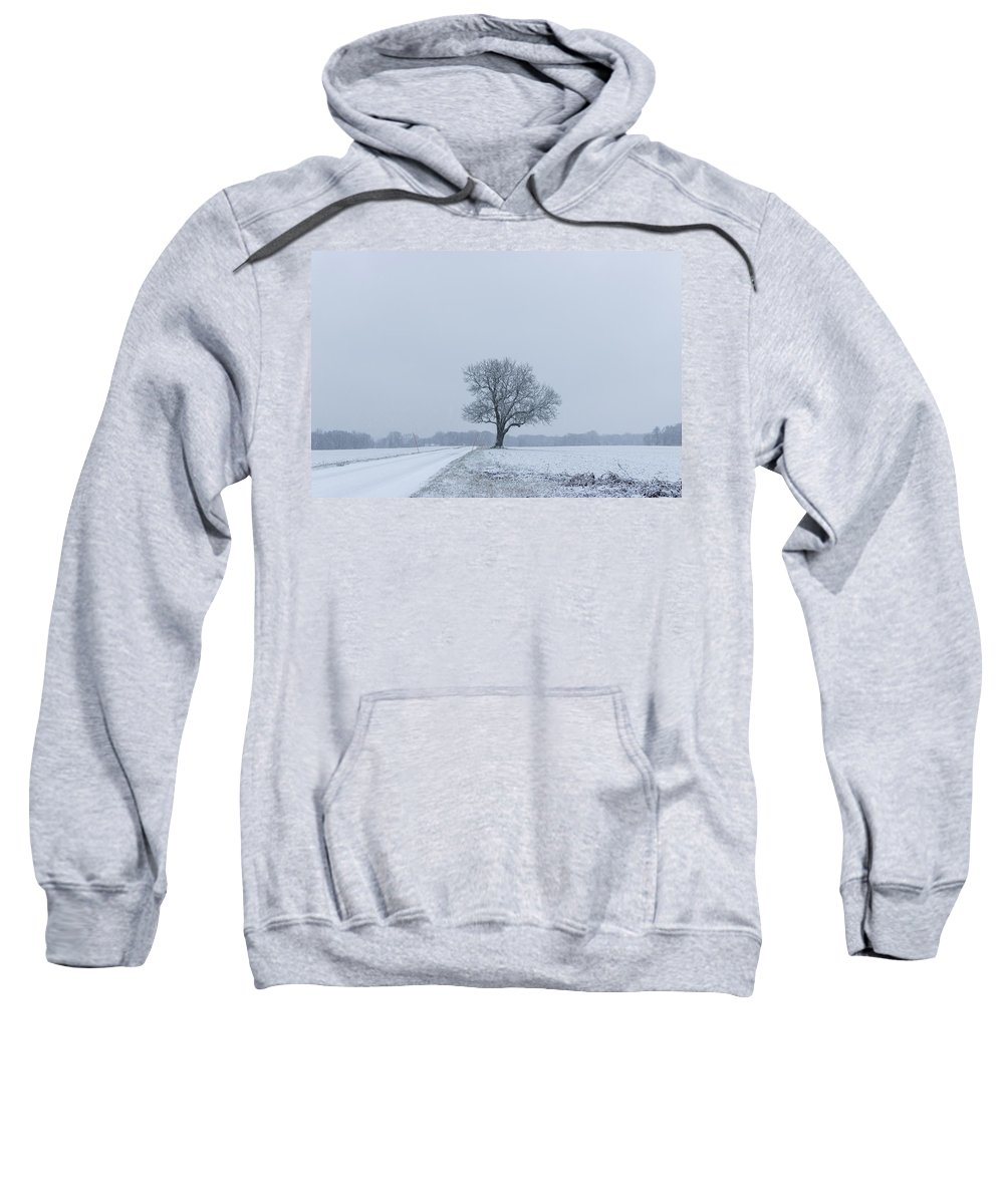 Tree Sweatshirt featuring the photograph Tree In Heavy Snow by Andreas Hoff
