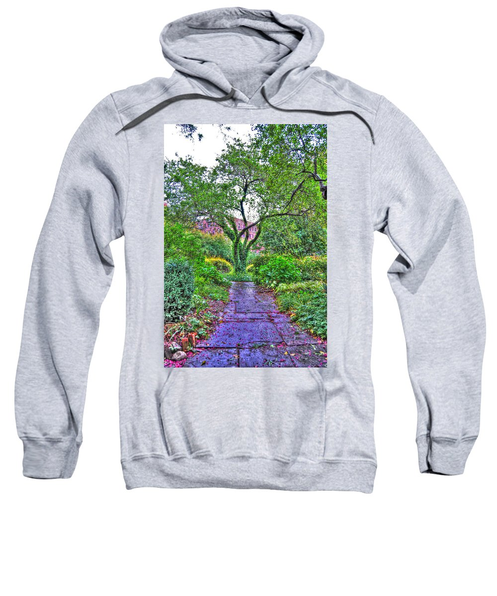 Saint Luke In The Field Church Sweatshirt featuring the photograph Tree Of Life At St. Luke In The Field Church by Randy Aveille