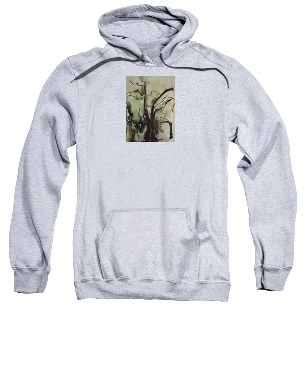 Tree Winter Abstract Original Painting Landscape Leila Atkinson Watercolor Wet On Wet Washes Trees Sweatshirt featuring the painting Tree Series V by Leila Atkinson