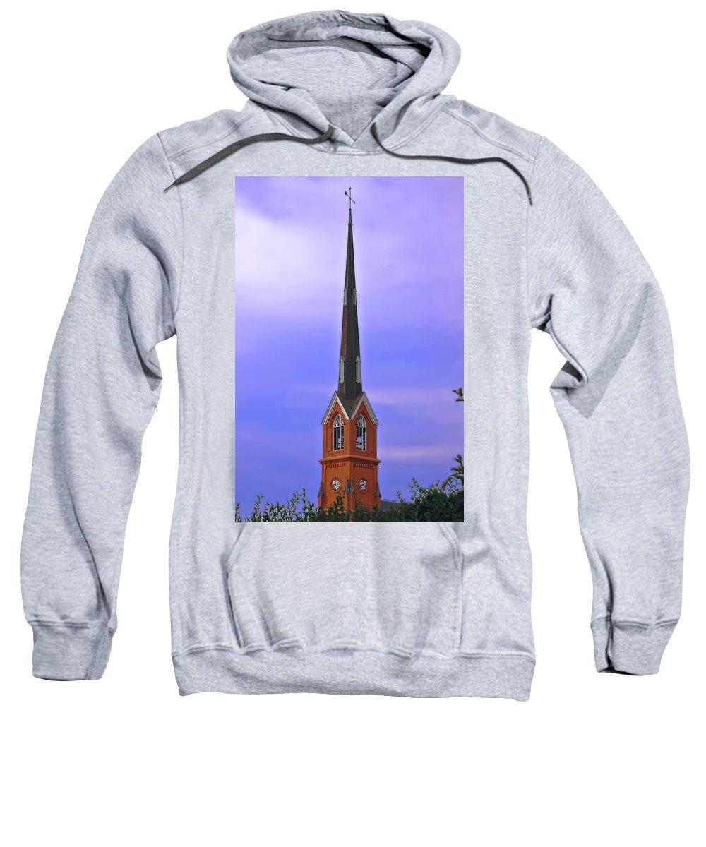 Church Sweatshirt featuring the digital art Tree Top Steeple by DigiArt Diaries by Vicky B Fuller