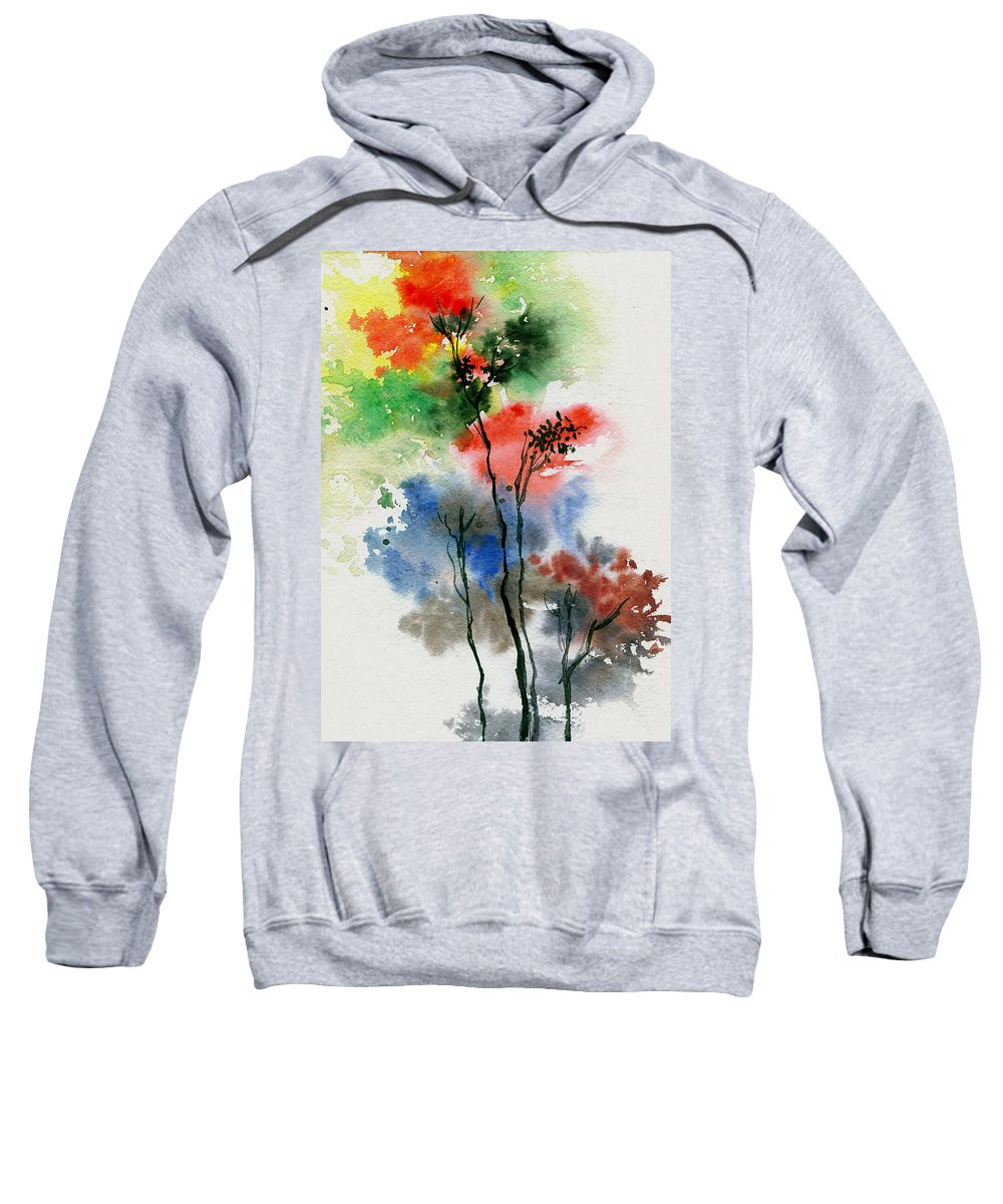 Trees Sweatshirt featuring the painting Trees In Colors by Anil Nene