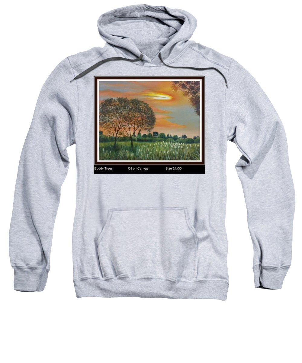 Sweatshirt featuring the painting Trees by Sumera Saleem