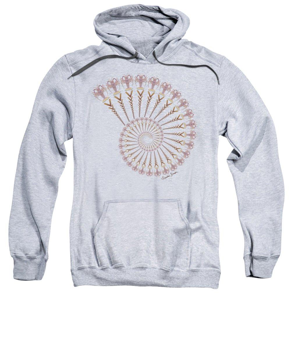Tribal Sweatshirt featuring the digital art Tribal Caribbean Lobster Spiral Shell by Heather Schaefer