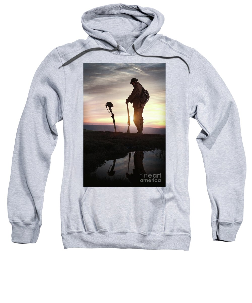 World War One Sweatshirt featuring the photograph Tribute To A Fallen Comrade World War One by Lee Avison