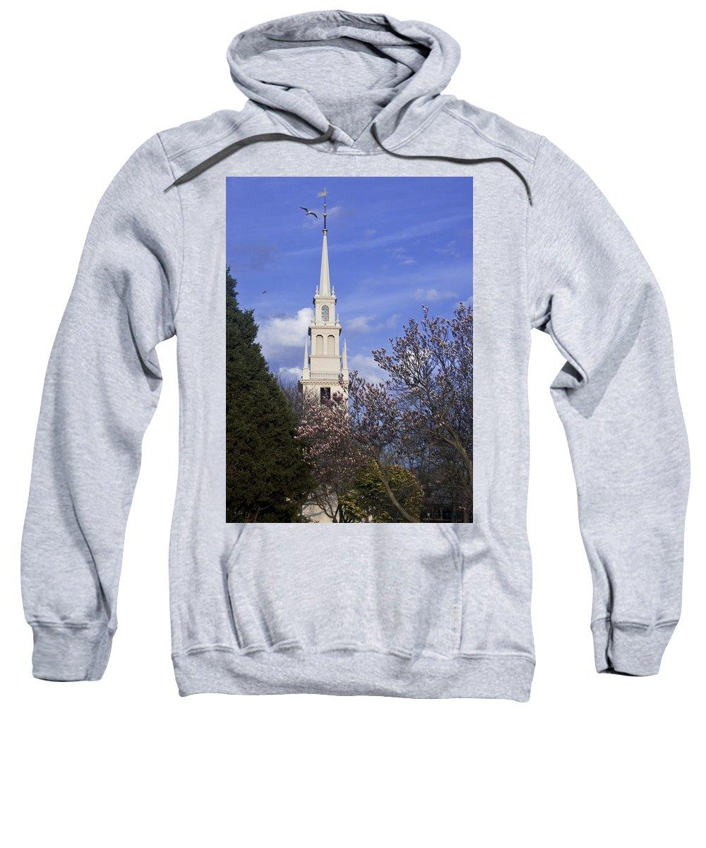 Trinity Church Sweatshirt featuring the photograph Trinity Church In Spring by Steven Natanson