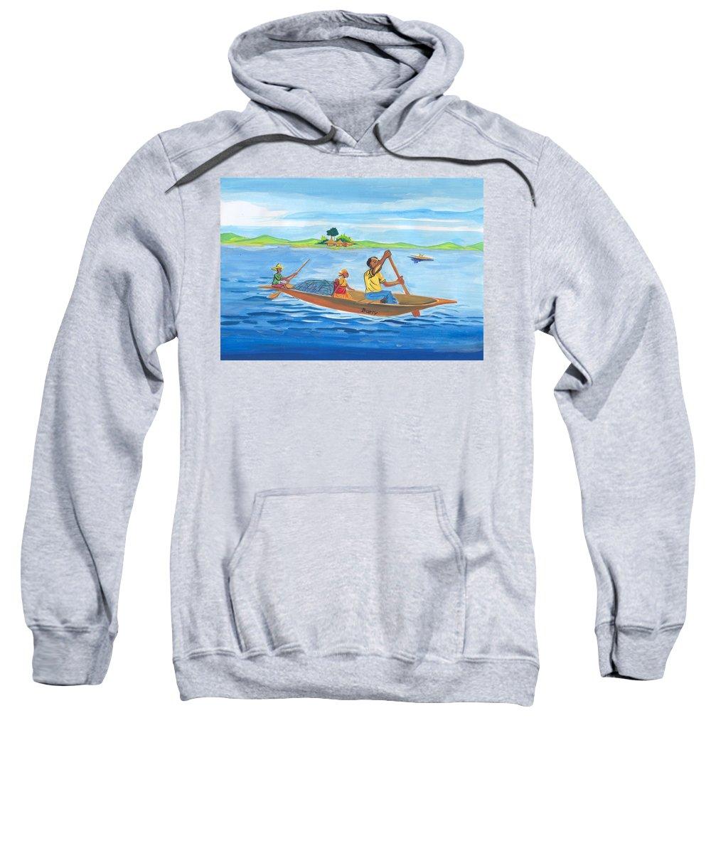 Landscapes Sweatshirt featuring the painting Trip To Lake Kivu In Congo by Emmanuel Baliyanga