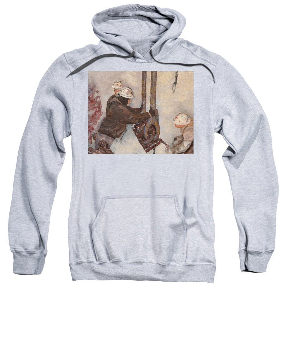 Geothermal Well Sweatshirt featuring the painting Trippin 300 Deg by Galen Cox