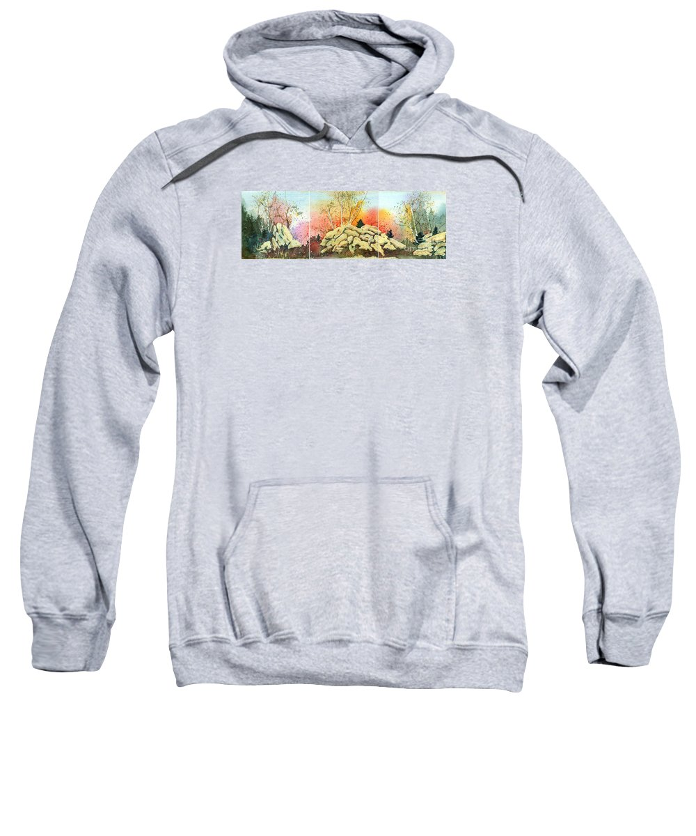 Landscape Sweatshirt featuring the painting Triptych by Lynn Quinn