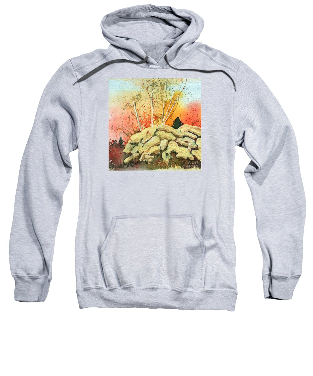 Landscape Sweatshirt featuring the painting Triptych Panel 2 by Lynn Quinn