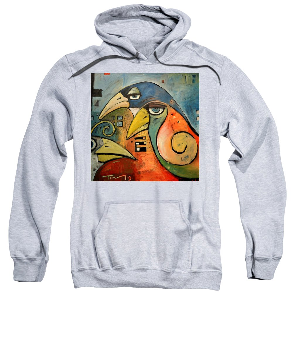 Birds Sweatshirt featuring the painting Trois Oiseaux by Tim Nyberg