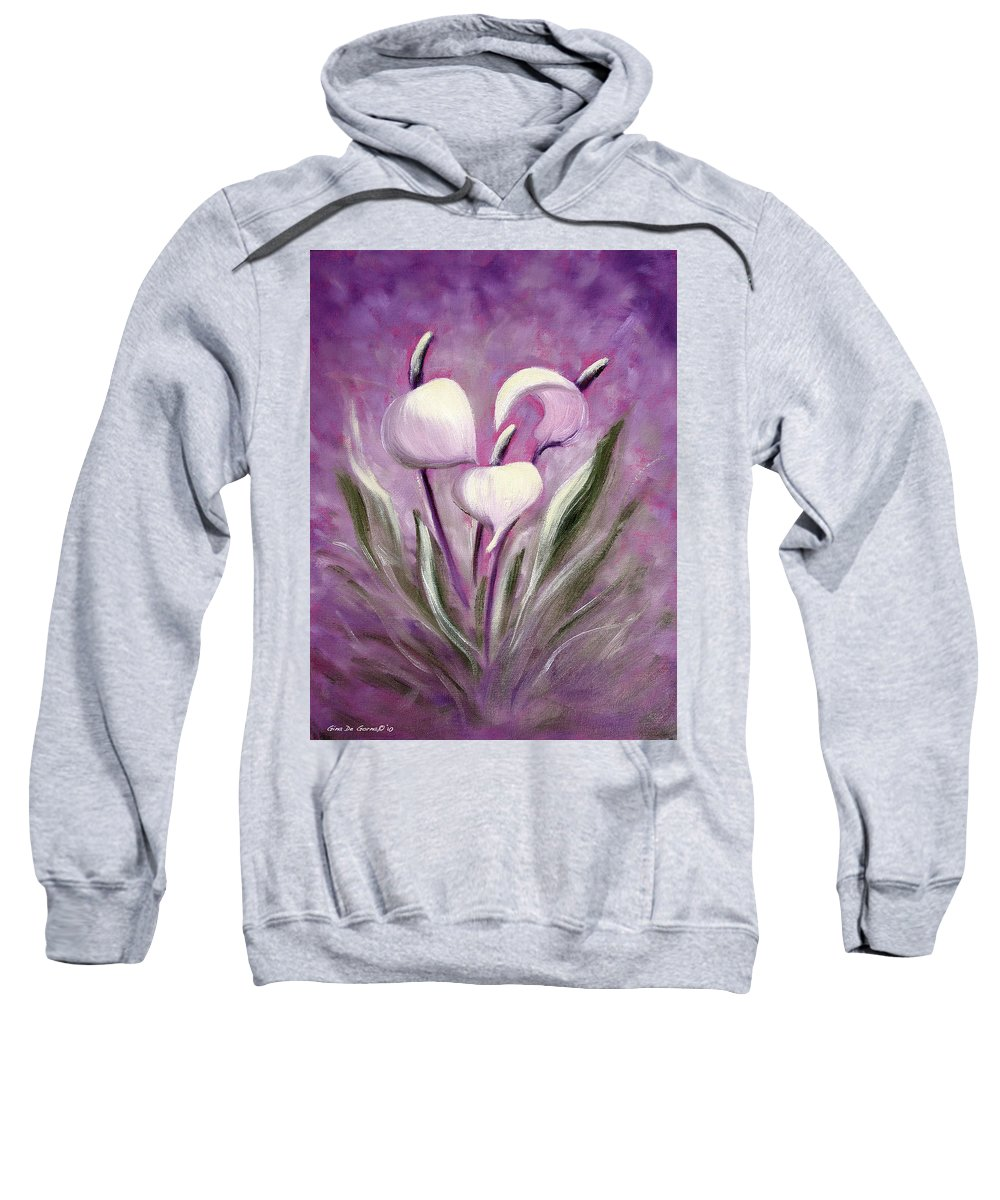 Tropical Sweatshirt featuring the painting Tropical Flowers In Purple by Gina De Gorna