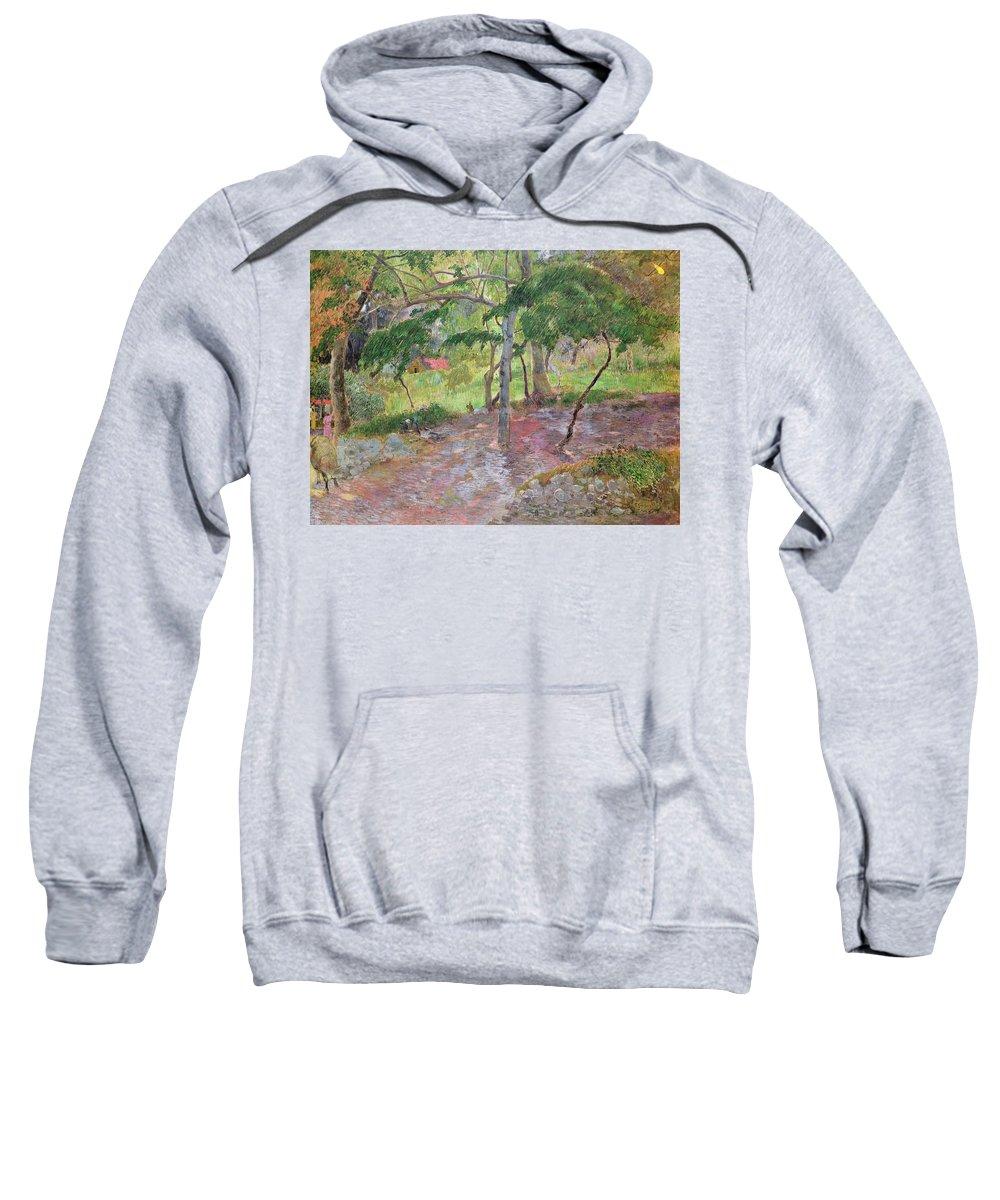 Tropical Landscape Sweatshirt featuring the painting Tropical Landscape by Paul Gauguin