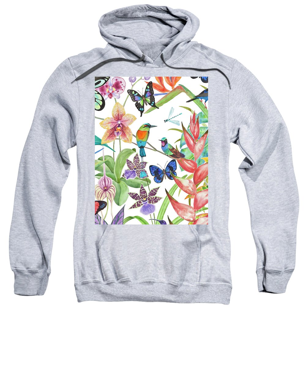 Tropical Birds Sweatshirt featuring the painting Tropical Paradise Dragonfly by Lucy Arnold