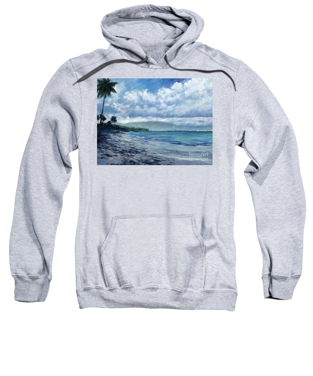 Seascape Sweatshirt featuring the painting Tropical Rain by Danielle Perry