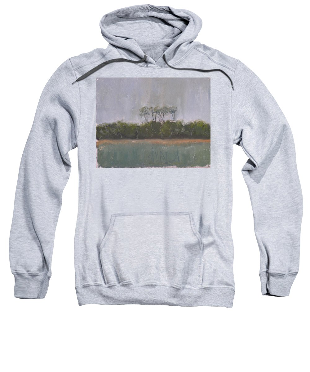 Landscape Beach Coast Tree Water Sweatshirt featuring the painting Tropical Storm by Patricia Caldwell