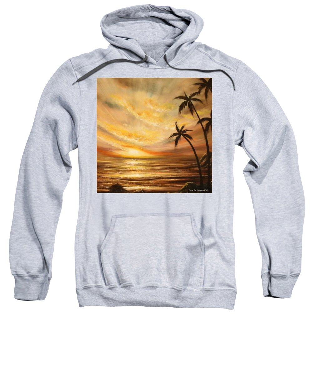 Tropicxal Sweatshirt featuring the painting Tropical Sunset 64 by Gina De Gorna