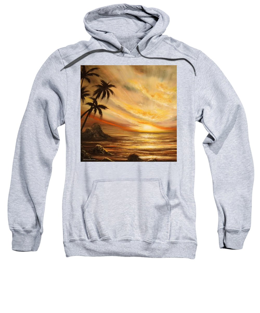 Tropical Sweatshirt featuring the painting Tropical Sunset 65 by Gina De Gorna