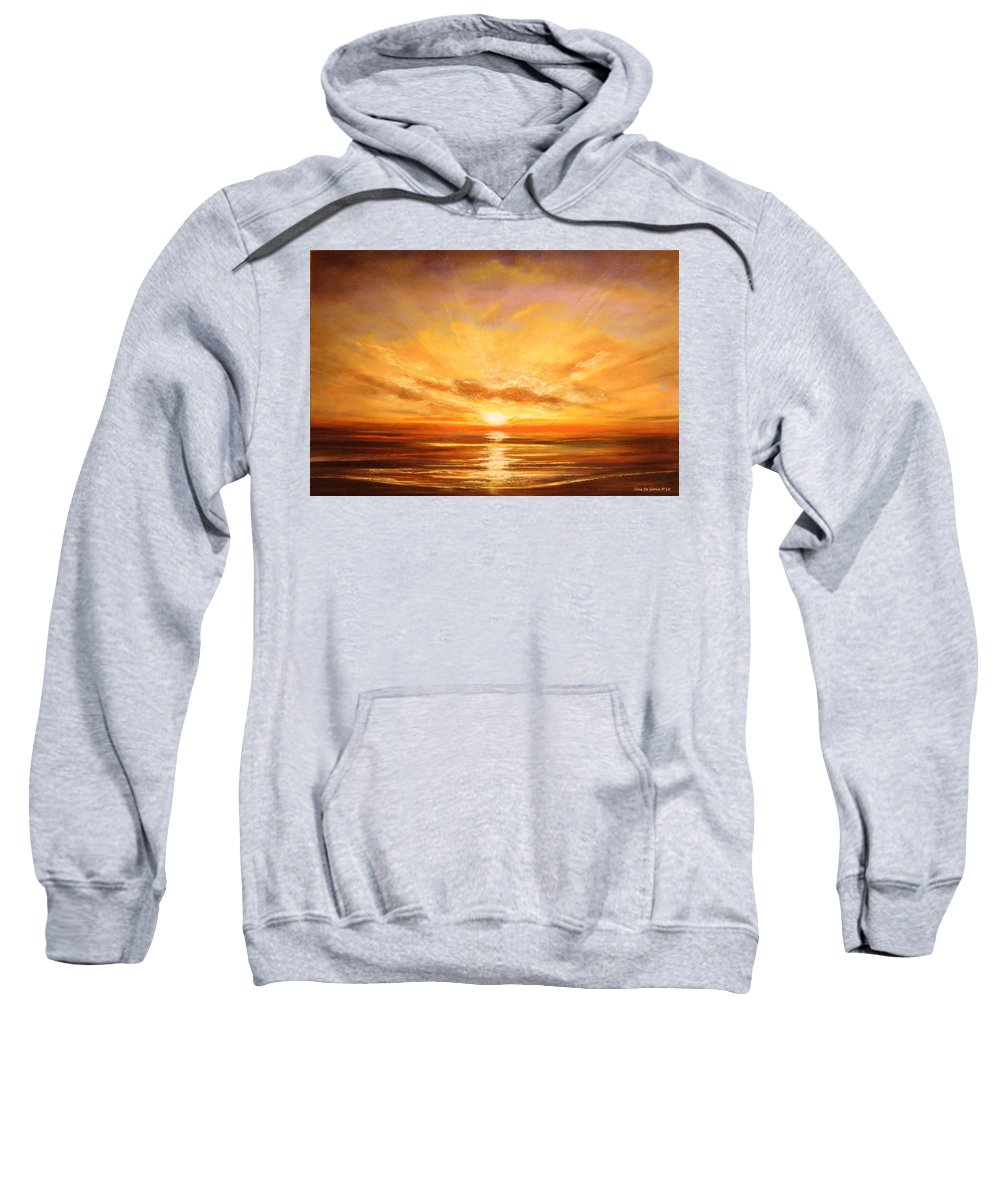 Tropicxal Sweatshirt featuring the painting Tropical Sunset 75 by Gina De Gorna
