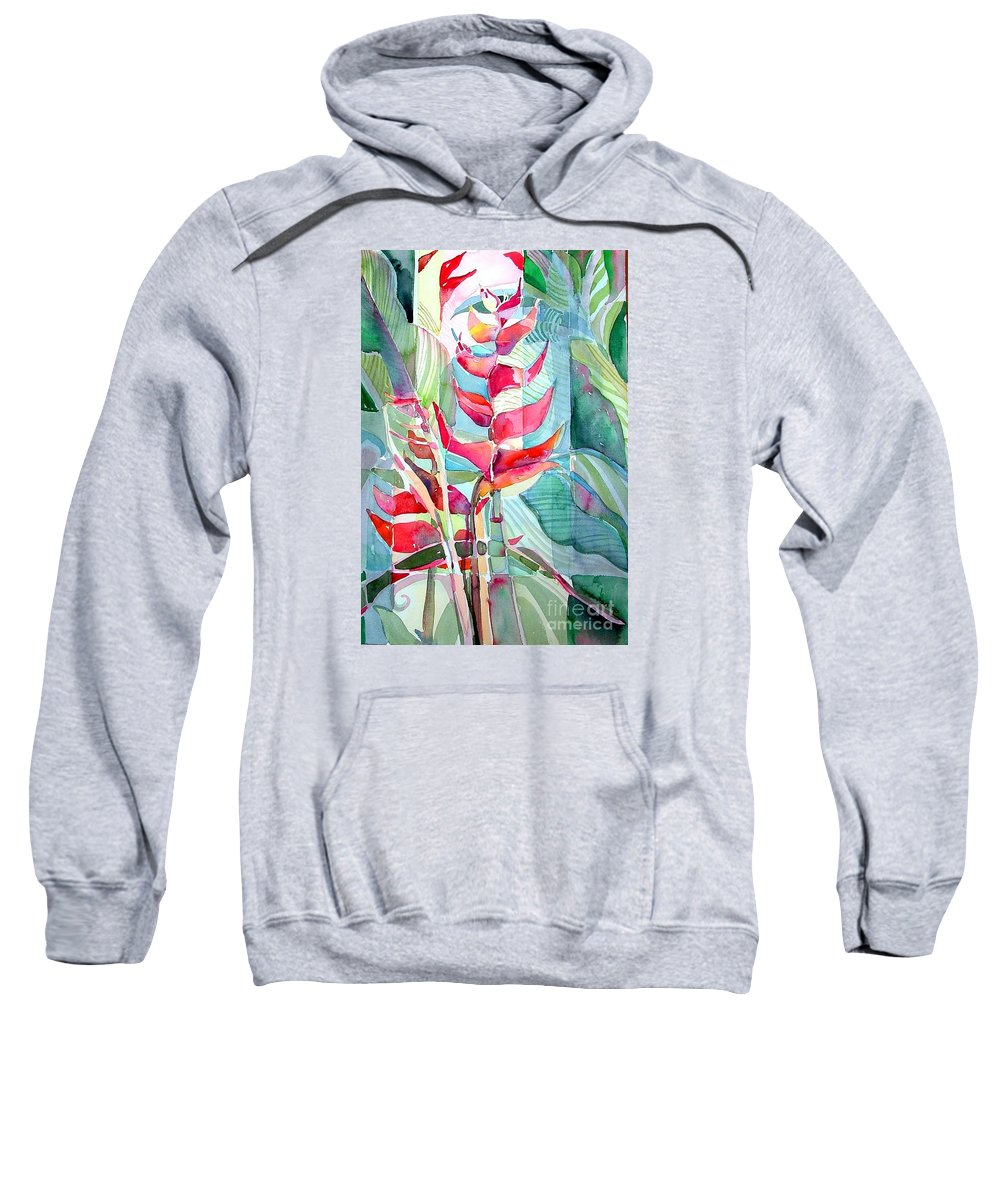 Landscape Sweatshirt featuring the painting Tropicana Red by Mindy Newman