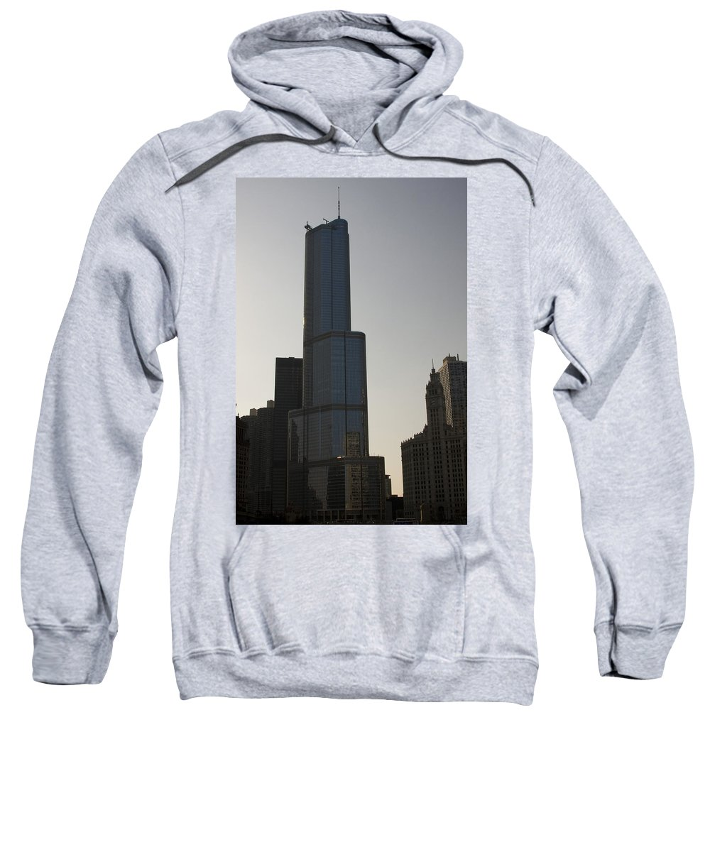 Chicago Windy City Tall Building Tower Donald Trump Hotel Skyscraper Metro Urban Sweatshirt featuring the photograph Trump International Hotel And Tower by Andrei Shliakhau