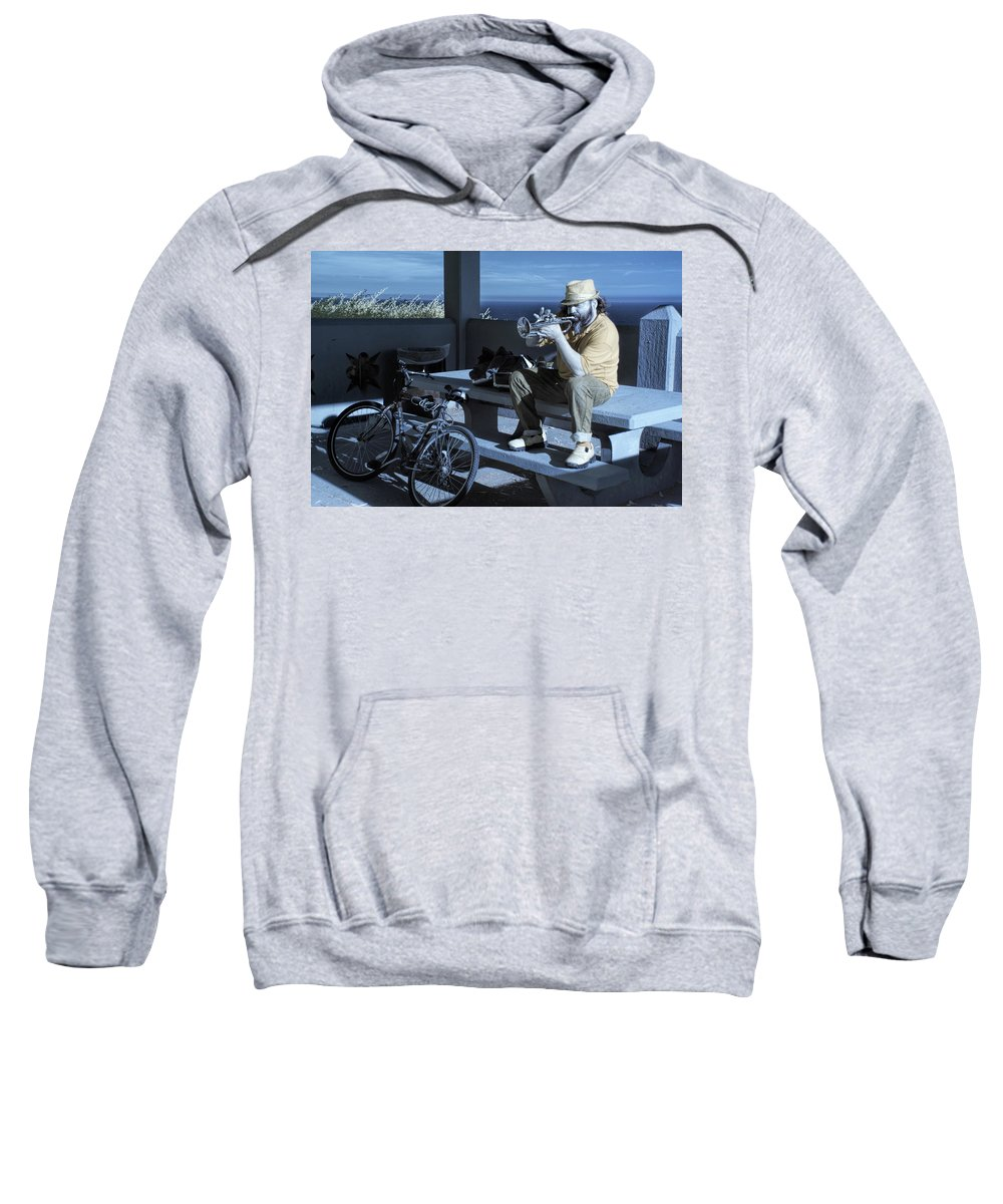 Music Sweatshirt featuring the photograph Trumpet Player Playing The Blues Fermin Point Los Angeles In Infrared by Randall Nyhof