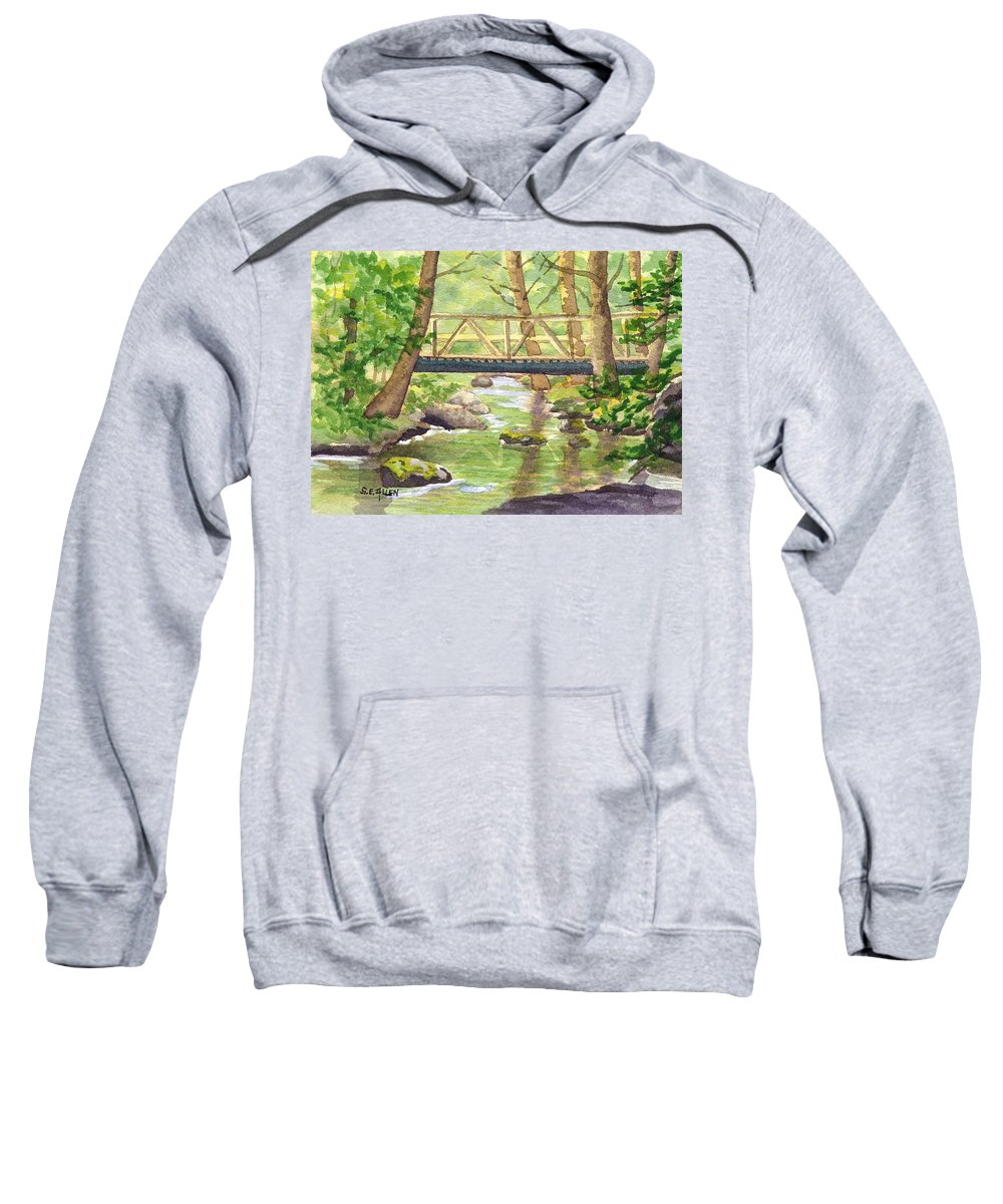 Stream Sweatshirt featuring the painting Tuckers Brook by Sharon E Allen