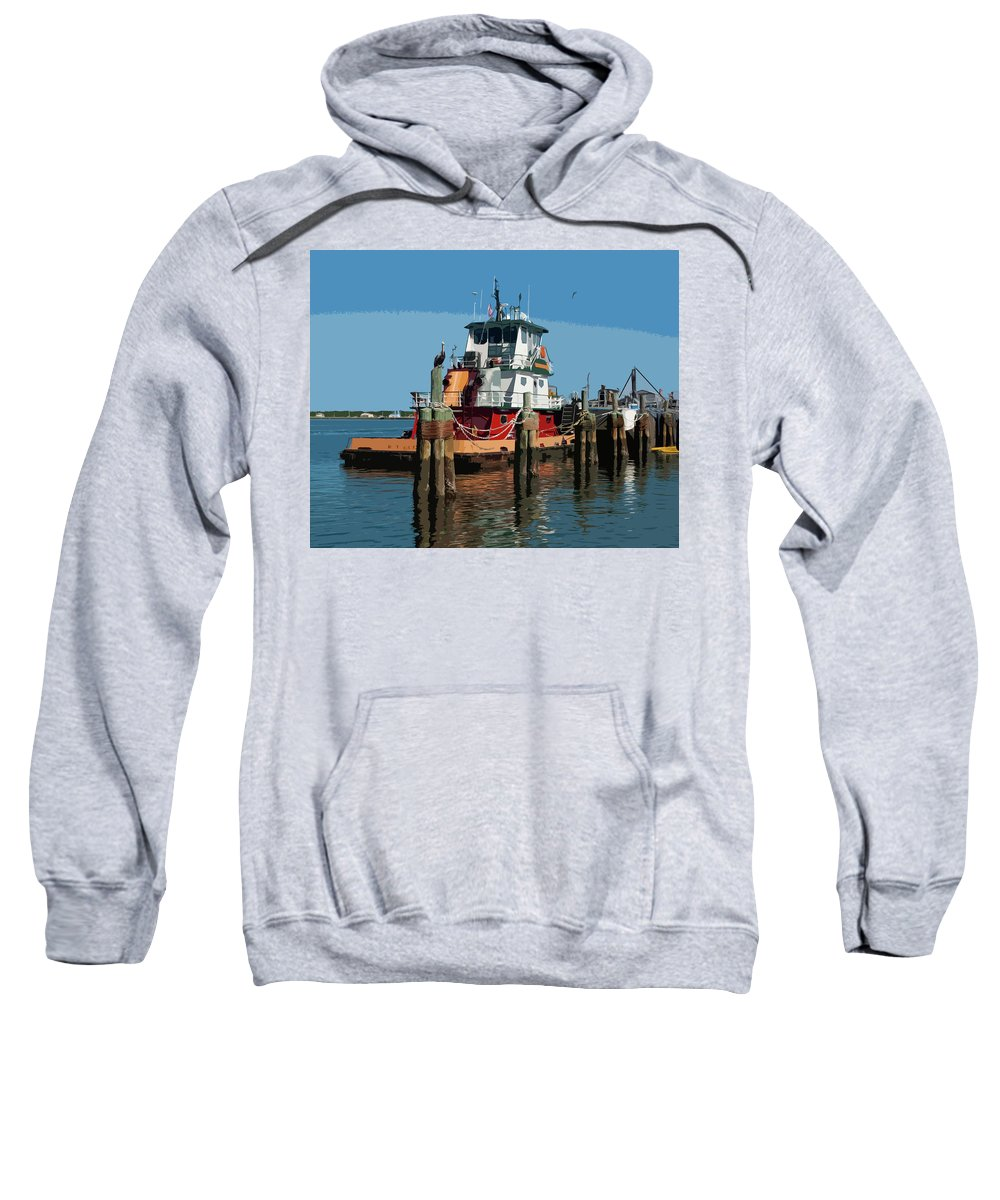 Tug Sweatshirt featuring the painting Tug Indian River At Port Canaveral In Florida Usa by Allan Hughes